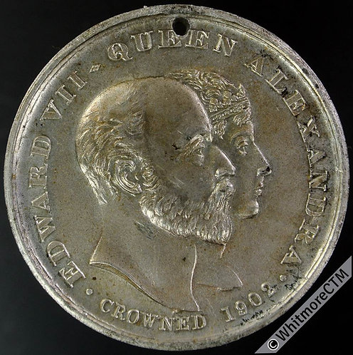 Stretford 1902 Edward VII Coronation Medal 38mm WE4501E Silvered white metal