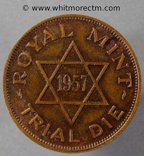 1957 Royal Mint trial Strike die Britannia Moneta 25mm - Bronze