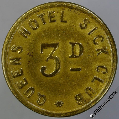 Unidentified Inn Pub Token Queens Hotel Sick Club 3d - Uniface