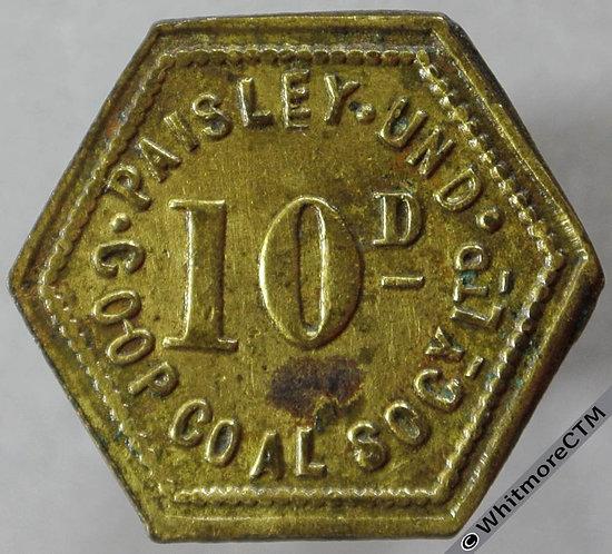 Co-Operative Society token Paisley Underwood Coal 20mm 10D Hexagonal brass