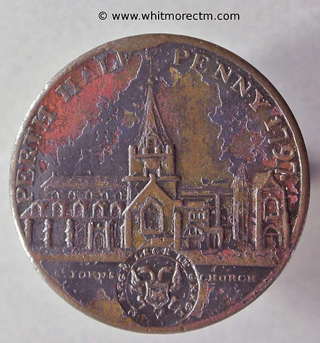18th Century Halfpenny Perth 4a 1797 View of church. Evidence of die rust on rev