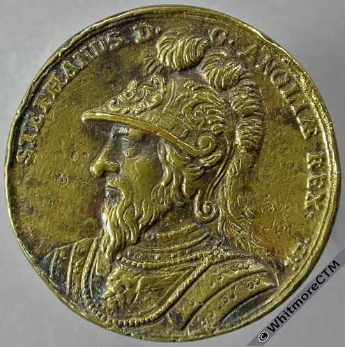 Kings of England Series Medal obv 37mm King Stephen Crude brass cast