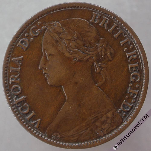 1865 British Bronze Farthing Victoria Bun Head. F513, 5 over 2