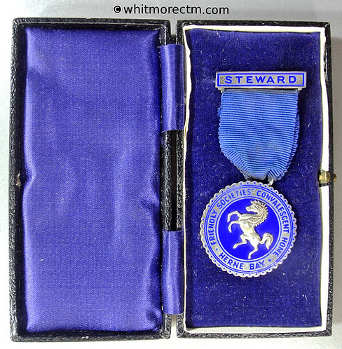 Herne Bay 1955 Friendly Society Convalescent Home Medal 34mm Silver Cased