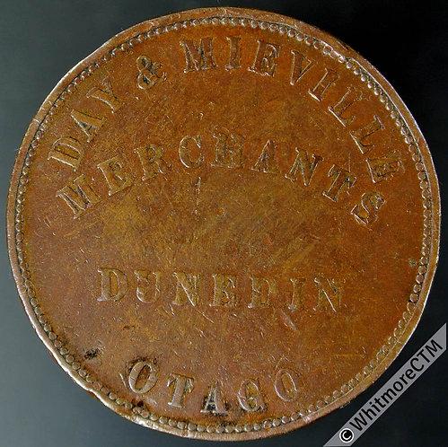 New Zealand Dunedin & Otago Penny 1857 Day & Mieville Merchants