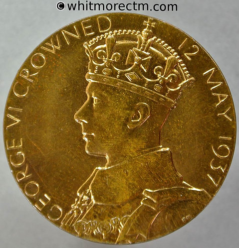 1937 Coronation of King George VI and Queen Elizabeth Medal obv 32mm B4314
