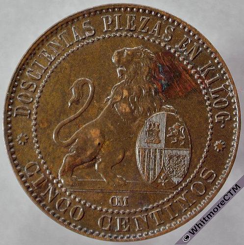 1870 Spain 5 Centimos - obv