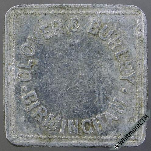 Market Token Birmingham 24mm W2813 1/- Glover & Burley - Square aluminium