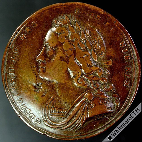 1727 Coronation of George II Medal 34mm MI 479/5 By T.T. - Bronze. Obverse dig