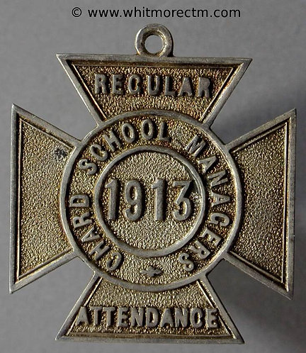 Chard 1913 School Managers Medal D361 27mm Silver cross with suspender