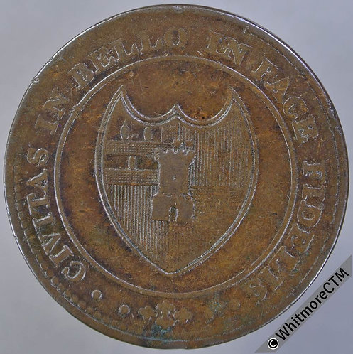19th Century Penny Worcester 1264a 1814 City Arms Partially grained edge XRare
