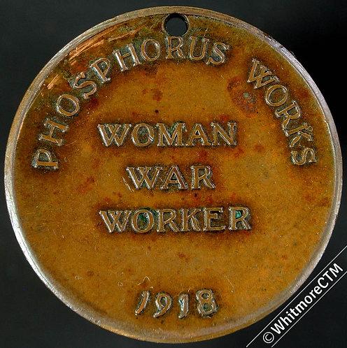 1918 Oldbury Phosphorus Works Woman War Workers Medal 33mm Angel Bronze. Pierced