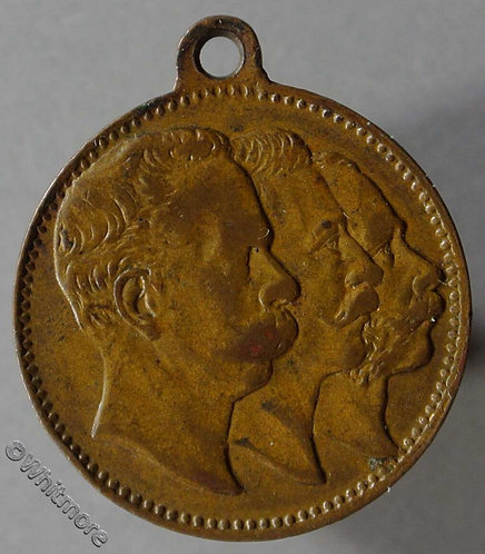 1888 Germany The three emperors Medal 22mm Bronze with suspender