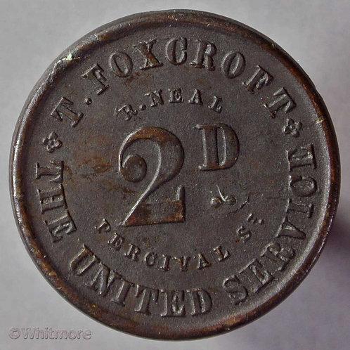 Woolwich London Pub / Inn Token The United Service  T. Foxcroft  2D By Neal