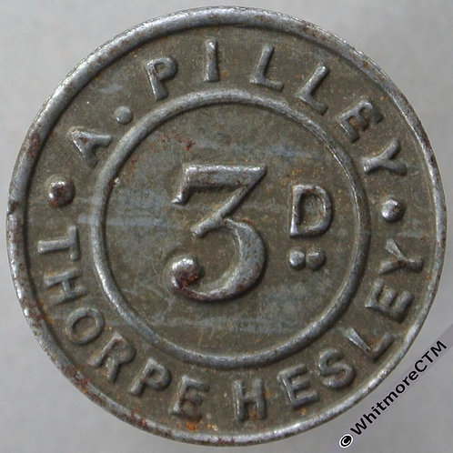 Thorpe Hesley (Yorks) A.Pilley  3D Token 22mm Bracteate tinned iron