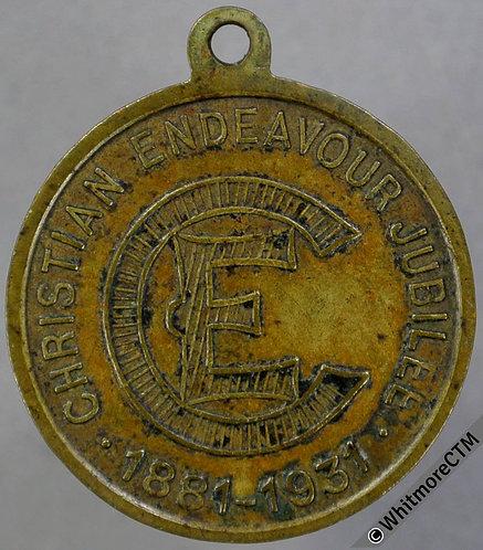 1931 Francis E.Clark Christian Endeavour Jubilee Medal 23mm Brass + suspender.