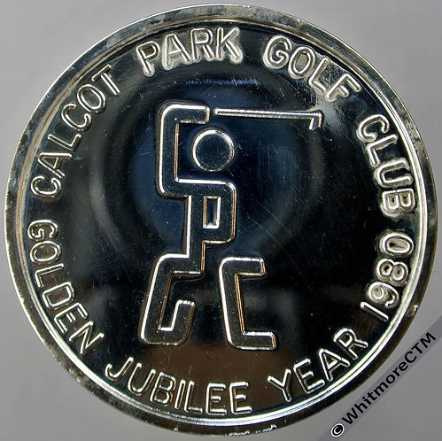 Calcot Parks Berkshire Golf Club Jubilee Year­ 1980 Medal 45mm silvered bronze