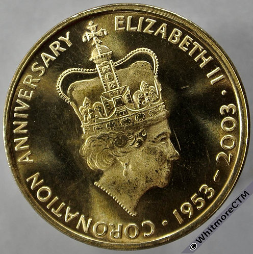 2003 50th Anniversary of Elizabeth II Coronation Medal obv 32mm By Tower Mint. Gilt