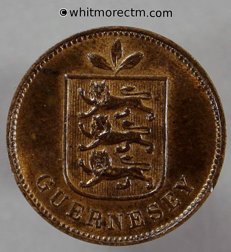 1903 Guernsey 1 Double 1903H Rare 30% Luster