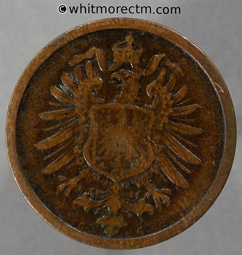 1875 Germany 2 Pfennig coin 1875G  Y2