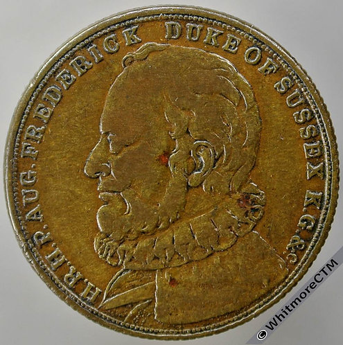 1843 Death of Duke of Sussex Medal 23mm B2097 Extremely rare, Bronze