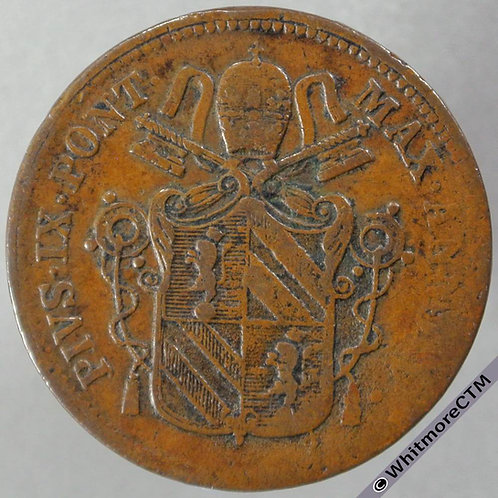 1850R Italy Papal States 1 Baiocco - Year V - obverse