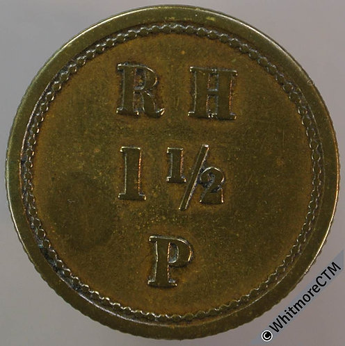 Value Stated Token 21mm R H 1½ P - in three lines.  Uniface. Brass