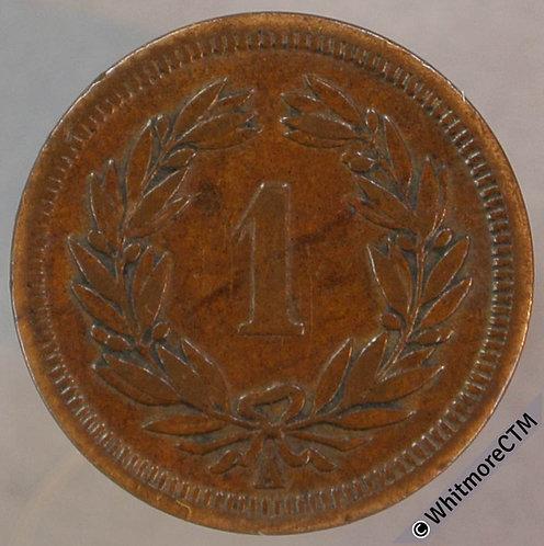 1850 Switzerland One Centime Rappen Y18