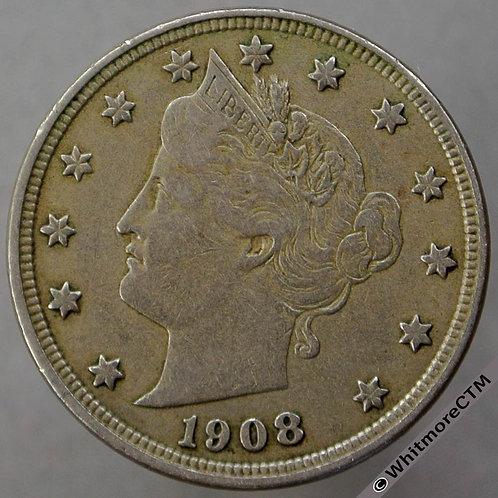 1908 USA 5 Cent Liberty Nickel