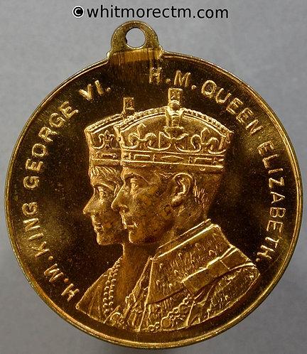 1937 Stroud Coronation Medal obv 33mm WE7062G Robert Perkins MP - Gilt brass