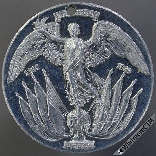 Lytham Urban District Council 1919 Peace Medal 32mm Aluminium. Pierced