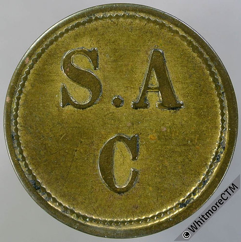 Value stated Token 24mm S A C / 6D in wreath - Gilt Bronze