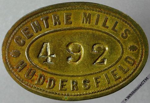 Tool / Pay check token obv Huddersfield 38x25mm Centre Mills No piercing. Oval brass