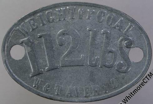 Misc Token 53x35mm W&T Avery Ltd. Weight of Coal 112 lbs  Oval bracteate zinc