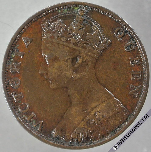 1866 Hong Kong 1 Cent Y1 obv