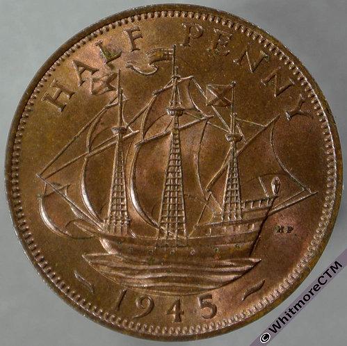 1945 British Bronze Halfpenny George VI 80% Luster