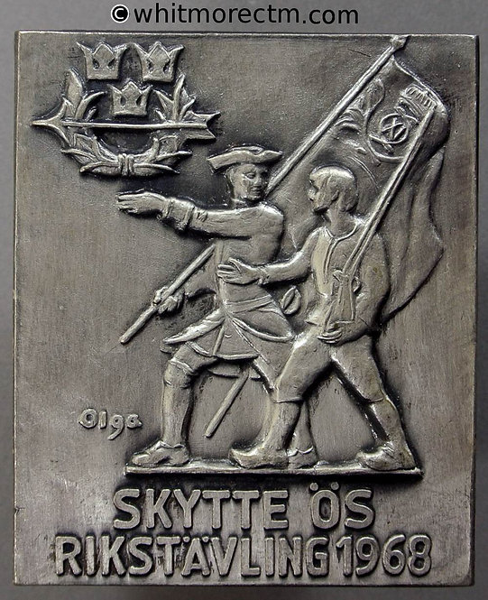 1968 Sweden shooting Competition medallion plaque 50x59mm Battle Scene - Silvered Bronze