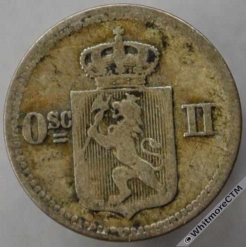 1875 Norway 10 Ǿre 3 Skilling Y14 - Rare