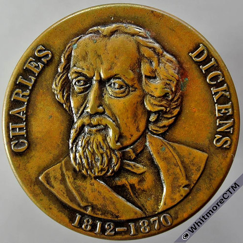 Charles Dickens Medallion 40mm - Uniface Bronze