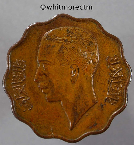 1938 Iraq 10 Fils coin obv Y10b Bronze 10% Luster