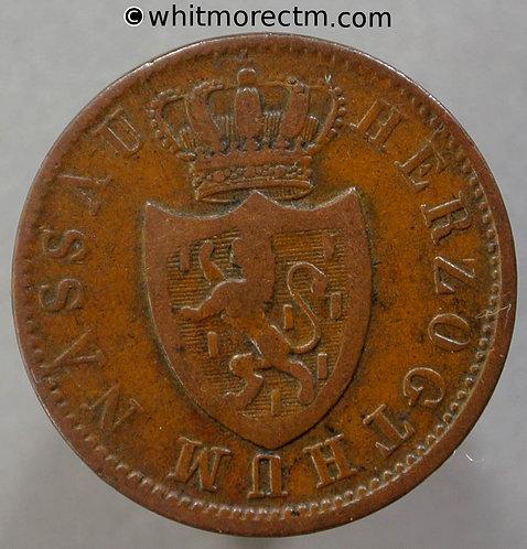 1856 Germany Nassau 1 Kreuzer coin obv
