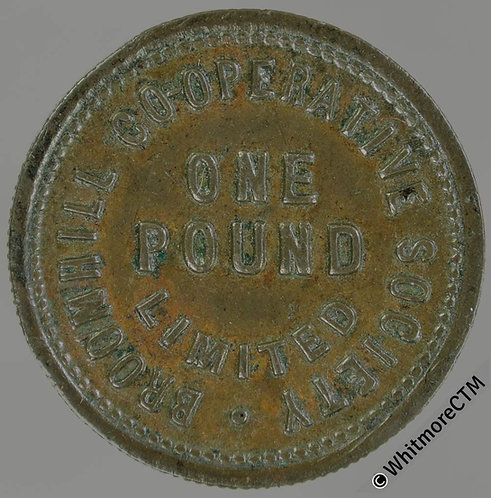 Co-Operative Society token Broomhill 23mm One pound Uniface - Bronze