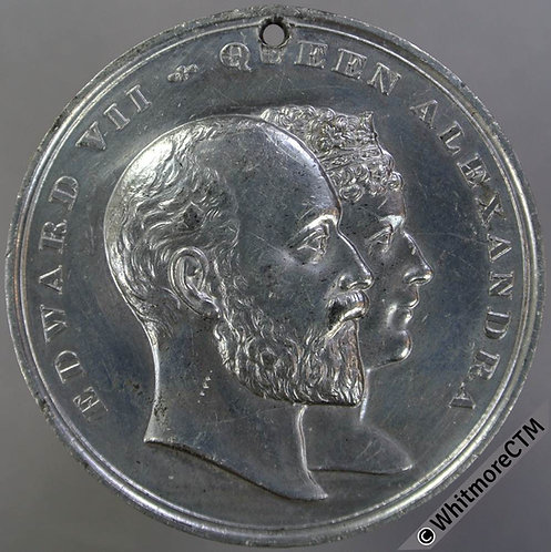 1902 Edward VII Coronation Medal 45mm B3801 By Pope- White metal