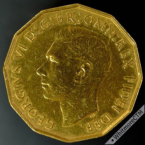 1950 British Threepence Brass George VI - Proof AFDC