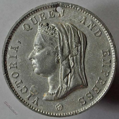 1897 Guernsey Victoria Jubilee Medallion 38mm WE3620H WM. Pierced Rare