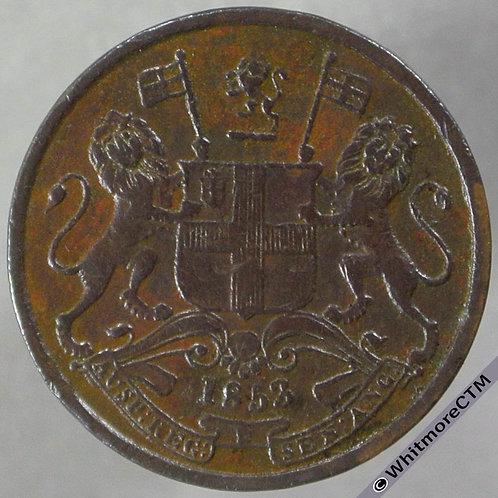 1853 India Half Pice S&W3.84 obv