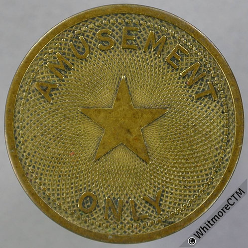 Misc Token 23mm Sparks / Amusement only + Star.  Hayes 354. Brass