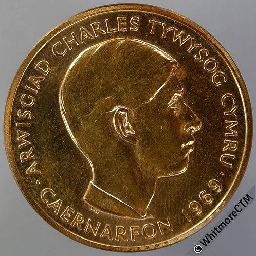 1969 Investiture of Prince Charles Medal 32mm Legends in Welsh. Gilt bronze