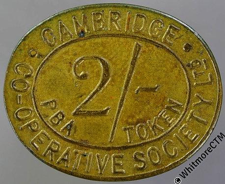 Co-Operative Society Token Cambridge 27x22mm 2/- P.B.A. token Oval brass