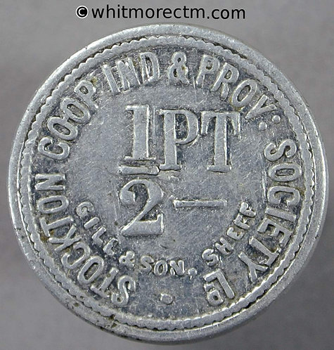 Co-Operative Society Token Stockton Ind. Prov. 20mm ½ Pt - Uniface. By Gill